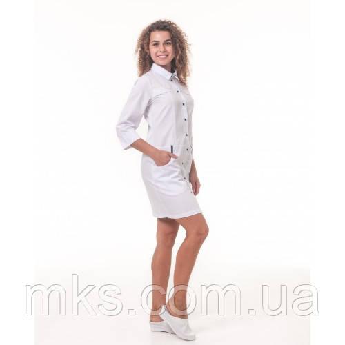 Медичний халат Джорджія Білий-темно/синій