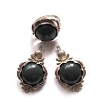 Кольцо, серьги - темно-зеленая яшма