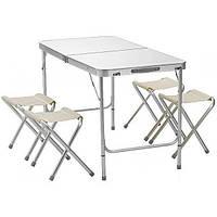 Стол для пикника со стульями Pinguin Folding table Белый ZK, КОД: 2552593