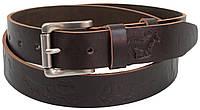 Ремень мужской из кожи под джинсы Skipper 3.8 см Коричневый 1309-38 FG, КОД: 1636664