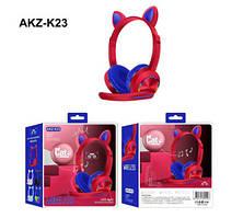 Бездротові Bluetooth-навушники AKZ-К23 з мікрофоном і LED RGB підсвіткою котячі вушка  ск4