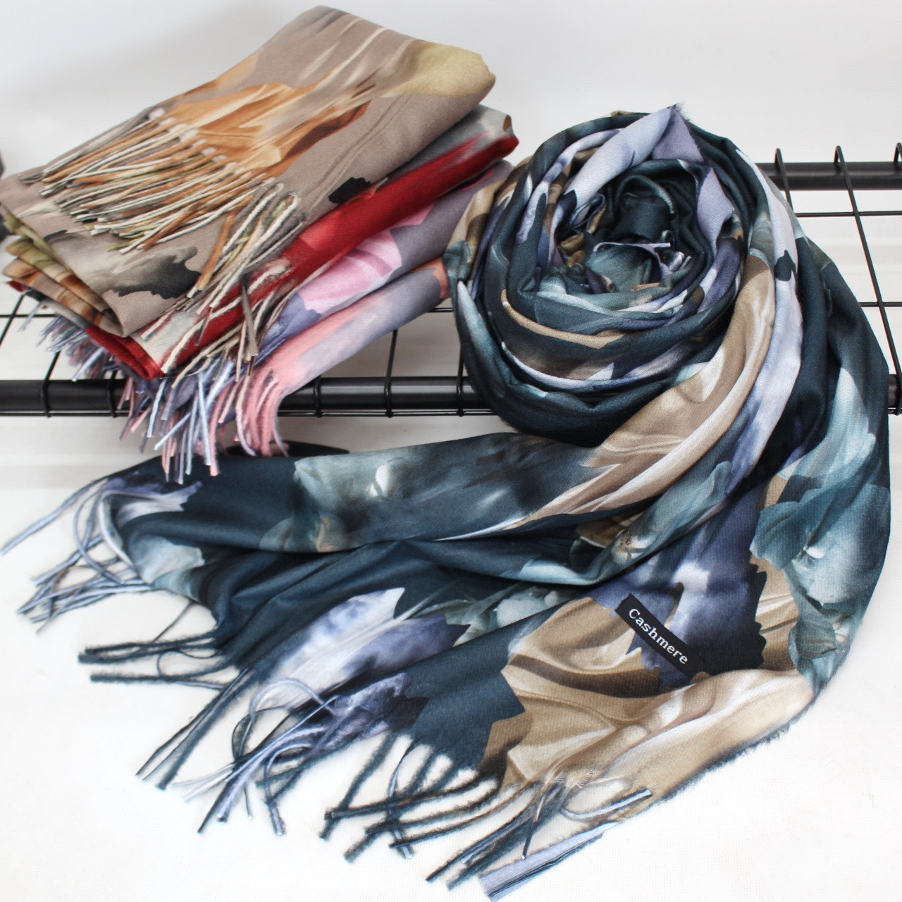 """Кашеміровий двосторонній шарф палантин """"Індіра"""" Cashmere 102001"""
