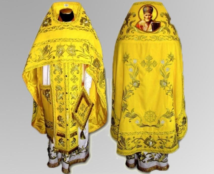 Облачение архиерея желтое заказать в мастерской (бархат)