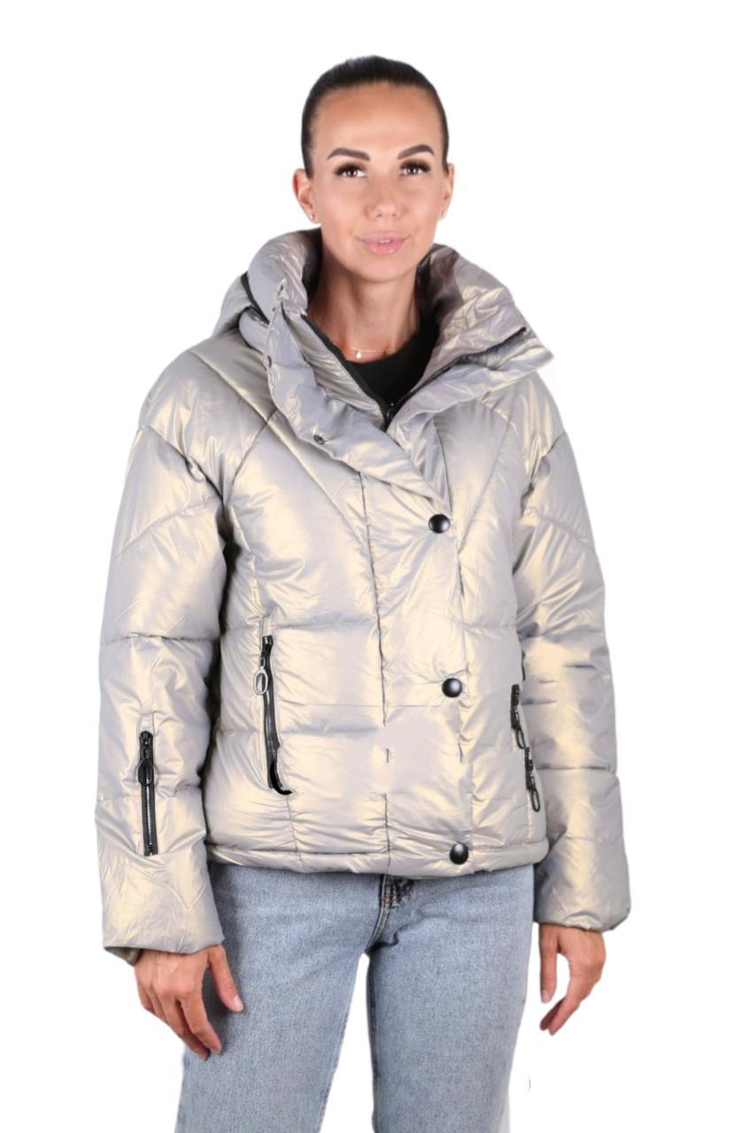 Куртка жіноча коротка з капюшоном молочна L-2XL еврозіма