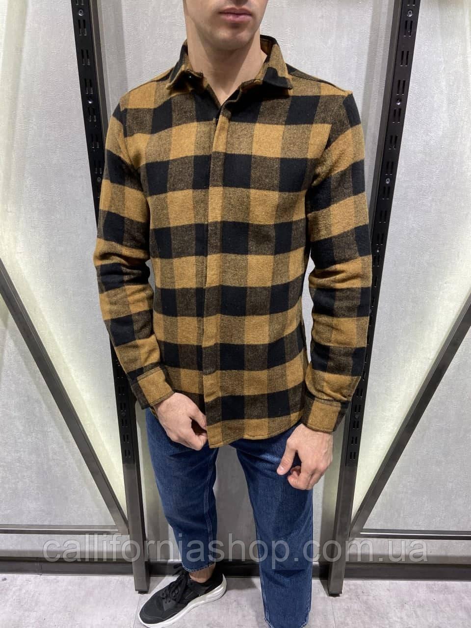 Рубашка мужская байковая в крупную клетку теплая