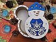 Подарункова коробка Сніговик з глітерною підложкою, фото 2