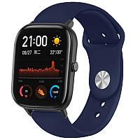 Силіконовий ремінець Sport для смарт-годин Samsung / Xiaomi Amazfit / Maxcom 20mm - Темно-синій / Midnight blue