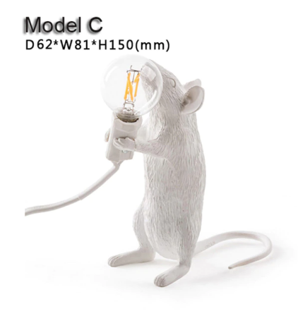 Настільна світлодіодна лампа в стилі постмодерн зі смоли у формі щура 3 моделі на вибір