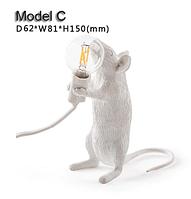 Настільна світлодіодна лампа в стилі постмодерн зі смоли у формі щура 3 моделі на вибір, фото 1