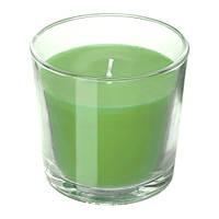 Ароматическая свеча в стакане IKEA SINNLIG 9 см яблоко и груша Зеленый (703.374.09)