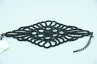 Роскошный ажурный браслет оптом. Бижутерия оптом из чёрных страз. 822