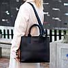Ультра модная фактурная черная женская сумка - шоппер Регулируемый ремень на плечо, фото 4