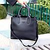 Ультра модная фактурная черная женская сумка - шоппер Регулируемый ремень на плечо, фото 6