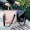 Ультра модная фактурная бежевая женская сумка - шоппер Регулируемый ремень на плечо, фото 6