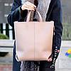 Ультра модная фактурная бежевая женская сумка - шоппер Регулируемый ремень на плечо, фото 4
