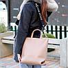 Ультра модная фактурная бежевая женская сумка - шоппер Регулируемый ремень на плечо, фото 8