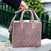 Брендовий фактурна бежева жіноча сумка - шоппер, регульований ремінь на плече, фото 6