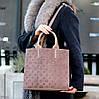 Брендовий фактурна бежева жіноча сумка - шоппер, регульований ремінь на плече, фото 5