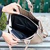 Эффектная фактурная бежевая замшевая женская сумка - шоппер натуральная замша, фото 2