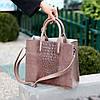 Эффектная фактурная бежевая замшевая женская сумка - шоппер натуральная замша, фото 3