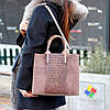 Ефектна фактурна бежева замшева сумка - шоппер натуральна замша, фото 6