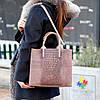 Эффектная фактурная бежевая замшевая женская сумка - шоппер натуральная замша, фото 6