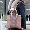 Эффектная фактурная бежевая замшевая женская сумка - шоппер натуральная замша, фото 7