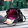 Невелика чорна зручна міська жіноча сумка, регульований ремінь на плече, фото 5