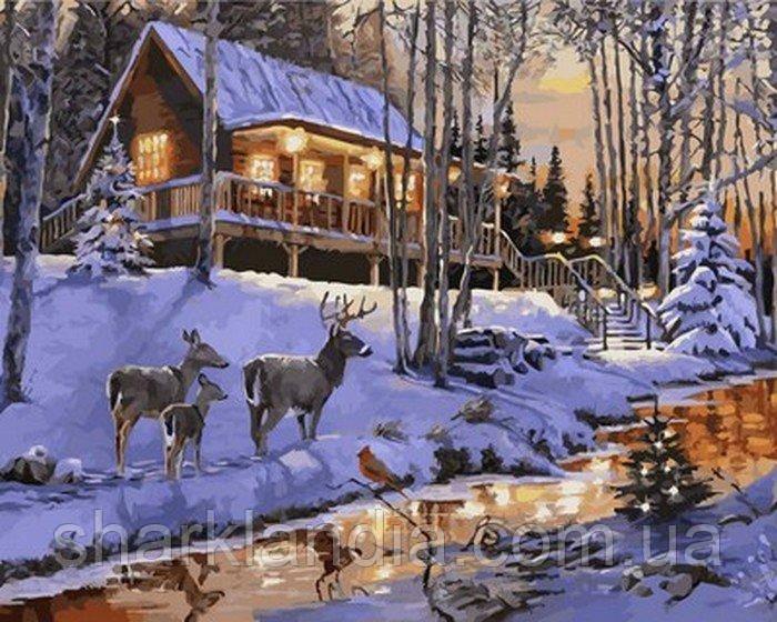 Картина за номерами Казковий пейзаж 40*50см Babylon Розмальовки по цифрах Зима Олені Новий рік Зимовий пейзаж