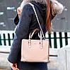 Невелика бежева зручна міська жіноча сумка, регульований ремінь на плече, фото 6