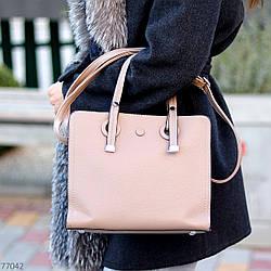 Невелика бежева зручна міська жіноча сумка, регульований ремінь на плече