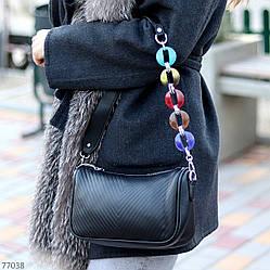 Яскрава зручна стильна чорна жіноча сумка клатч з декором, Регульований ремінь на плече