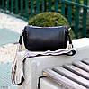 Яскрава зручна стильна чорна жіноча сумка клатч з декором, Регульований ремінь на плече, фото 9
