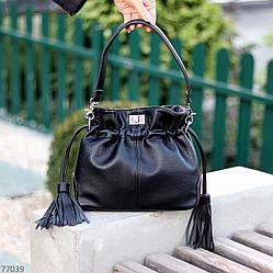Елегантна чорна міська жіноча сумка кисет із зручною ручкою, ремінь через плече