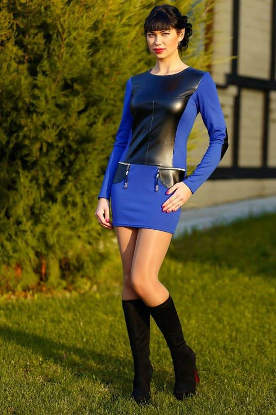 Женская одежда большого размера с кожаными вставками