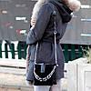 Чорна замшева сумка клатч кроссбоди натуральна замша через плече декор ланцюг, фото 4
