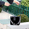 Чорна замшева сумка клатч кроссбоди натуральна замша через плече декор ланцюг, фото 5