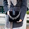 Чорна замшева сумка клатч кроссбоди натуральна замша через плече декор ланцюг, фото 7