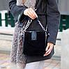 Чорна замшева сумка клатч кроссбоди натуральна замша через плече декор ланцюг, фото 6