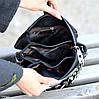 Чорна замшева сумка клатч кроссбоди натуральна замша через плече декор ланцюг, фото 8
