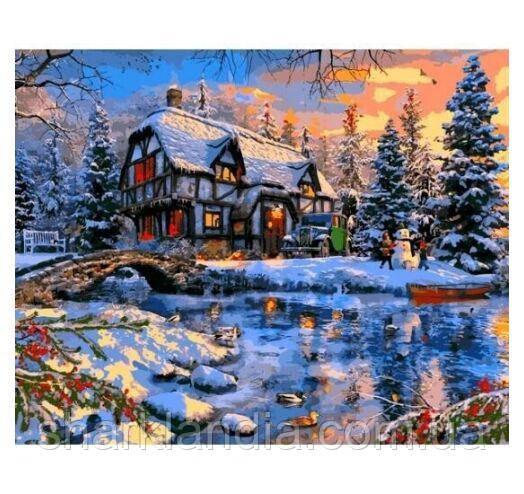 Картина за номерами Будинок Зима за містом 40*50см Babylon Розмальовки по цифрах Новий рік Зимовий пейзаж Домінік Девісон