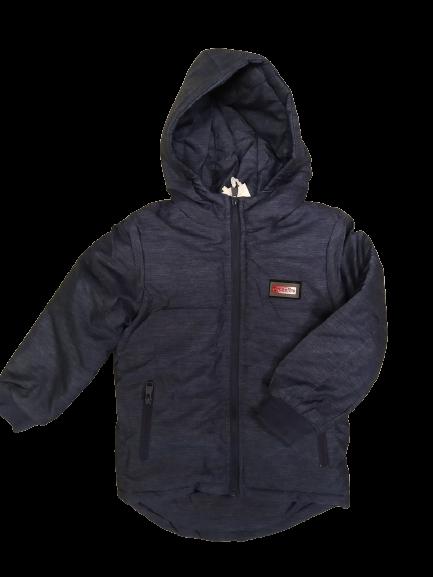 Куртка парку утеплена для хлопчиків колір темно синій 104-110 см