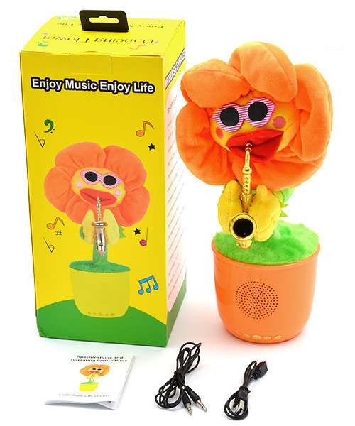 Портативна Bluetooth колонка Dancing Flower G26, Orange, Танцює і співає квітка Помаранчева