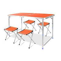 Стол для пикника с 4 стульями Folding Table 120х60х55/60/70 см Оранжевый