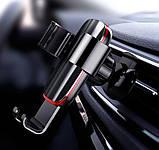 Автомобильный держатель для мобильного телефона Baseus Metal Age Gravity на воздуховод  пластик алюминий, фото 7