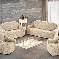 Жаккардовый чехол на диван без рюша и два кресла