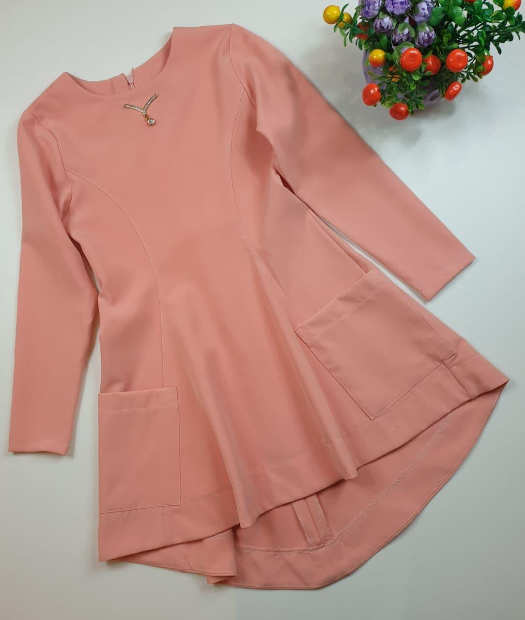 Платье-туника на девочку 122 128 134 140 см Украина персик