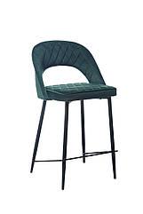 Барний стілець B-125 м'який вельвет, зі спинкою, колір смарарагд, метал