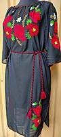 Сукня шифон ручна вишивка 024 Маки яскраві ОГ 116 см
