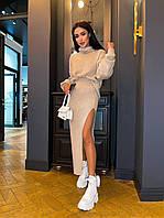 Костюм женский стильный вязаный свитер свободного кроя и юбка миди с разрезом разные цвета Km1132